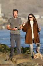 LILY COLLINS and Charlie McDowell Out with Their Dog at a Beach in Santa Barbara 01/10/2021
