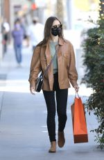 LILY COLLINS Shopping at Hermes Store in Los Angeles 01/14/2021