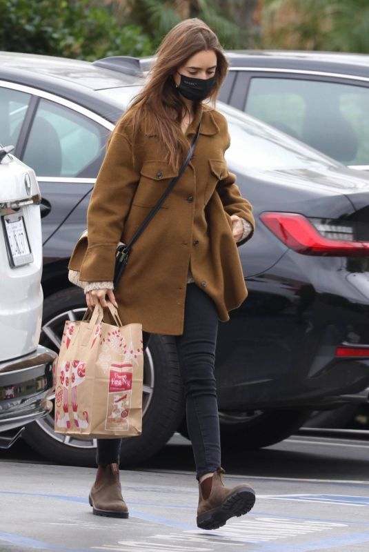 LILY COLLINS Shopping at Trader Joe's in Los Angeles 01/28/2021