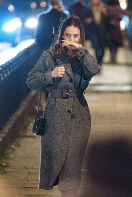 LILY JAMES on the Set of What's Love Go To Do Wth It? in London 01/02/2021