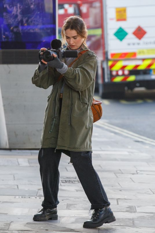 LILY JAMES on the Set of What's Love Go To Do Wth It? in London 01/18/2021