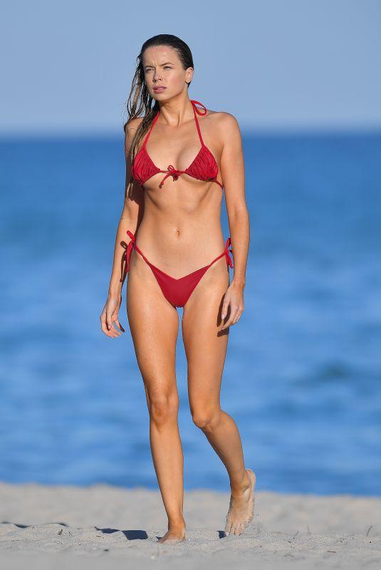 LOUISA WARWICK in a Red Bikini at a Beach in Miami 01/21/2021