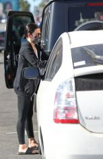 LUCY HALE Accidentally Backs into a Prius Behind in Los Angeles 01/15/2021