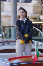MATILDA DE ANGELIS on the Set of Across The River And Into The Trees in Venice 01/26/2021