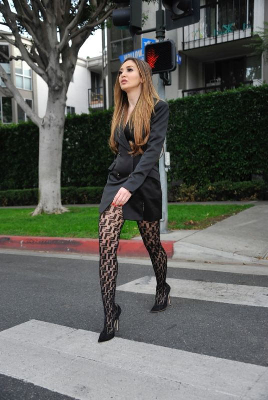 MEGAN PORMER in a Fishnet Stockings Out in Los Angeles 01/14/2021