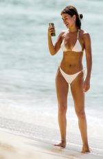 MONTANA BROWN in a White Bikini at a Beach in Barbados 01/20/2021