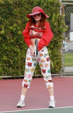 PHOEBE PRICE at a Tennis Court in Los Anegeles 01/22/2021