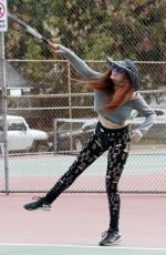 PHOEBE PRICE at a Tennis Court in Los Anegeles 01/26/2021