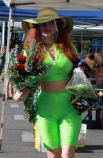 PHOEBE PRICE in a Neon Green Outfit Shopping in Los Angeles 01/17/2021