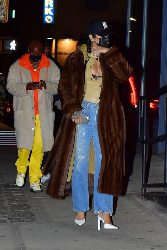 RIHANNA and A$ap Rocky Out for Dinner in New York 01/19/2021