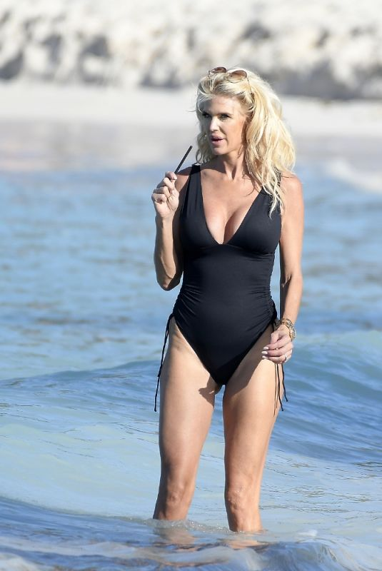VICTORIA SILVSTEDT in a Black Swimsuit in St Barths 01/05/2021