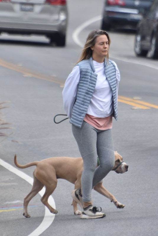 ALICIA SILVERSTONE Out with Her Dog in Los Angeles 02/09/2021