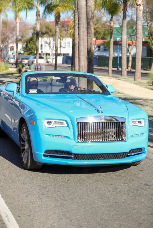 AMBER ROSE and Alexander Edwards Out in Their New Baby Blue Convertible Rolls-Royce in Beverly Hills 02/05/2021