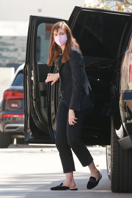 ANNE HATHAWAY Arrives at a Meeting in Los Angeles 02/24/2021