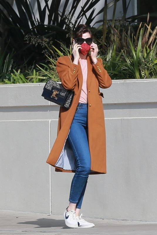 ANNE HATHAWAY Out and About in Santa Monica 02/04/2021