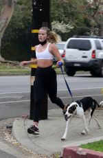 AVA PHILLIPPE Out Jogging with Her Dog in Los Angeles 02/09/2021