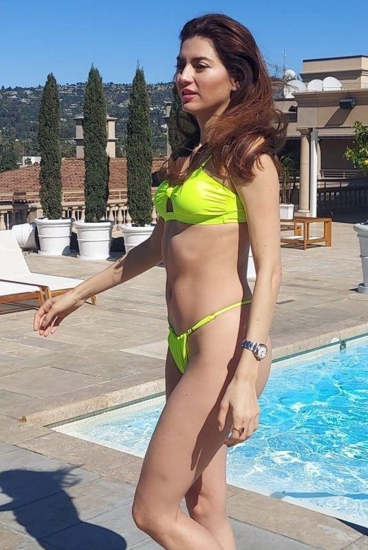 BLANCA BLANCO in Bikini at a Pool in Beverly Hills 02/23/2021