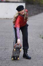 CAPRICE BOURET Practising Her Skateboarding Skills Out in London 02/23/2021