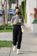 CARA SANTNA Out for Drinks from Cha Cha Matcha in West Hollywood 02/01/2021
