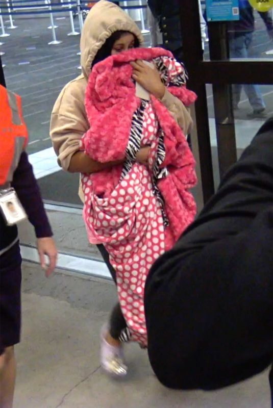CARDI B Arrives at Los Angeles International Airport 02/08/2021