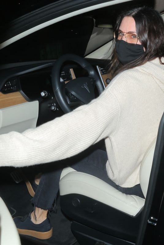 COURTENEY COX Hops in the Car Leaving Dinner in Santa Monica 02/04/2021
