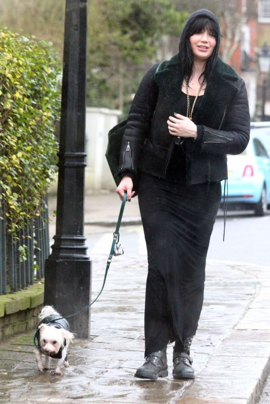 DAISY LOWE Out with her Dog in London 02/04/2021