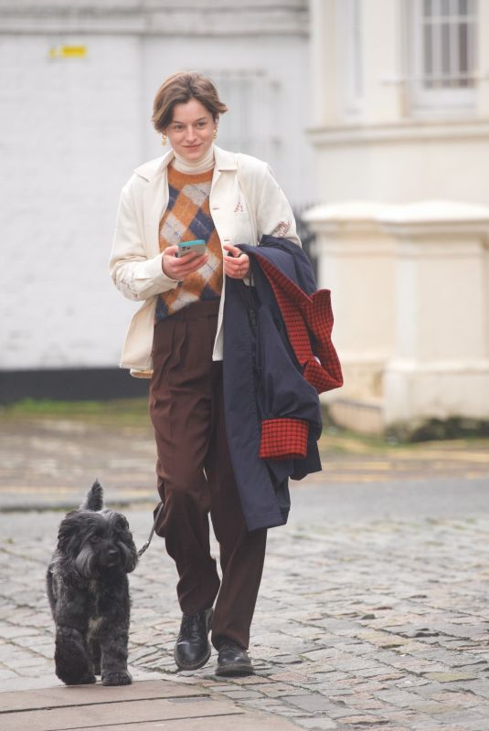 EMMA CORRIN Out with Her Dog Spencer in Primrose Hill 02/06/2021