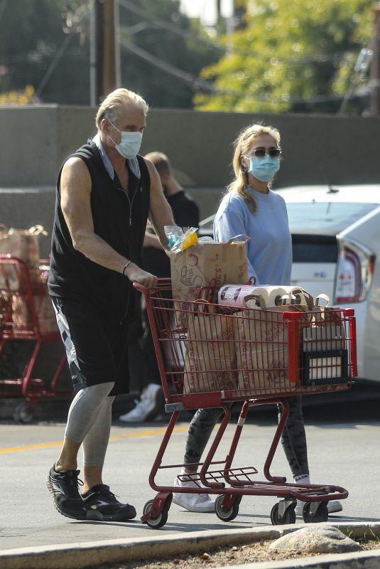 EMMA KROKDAL and Dolph Lundgren Shopping at Trader Joe's in Hollywood 02/08/2021