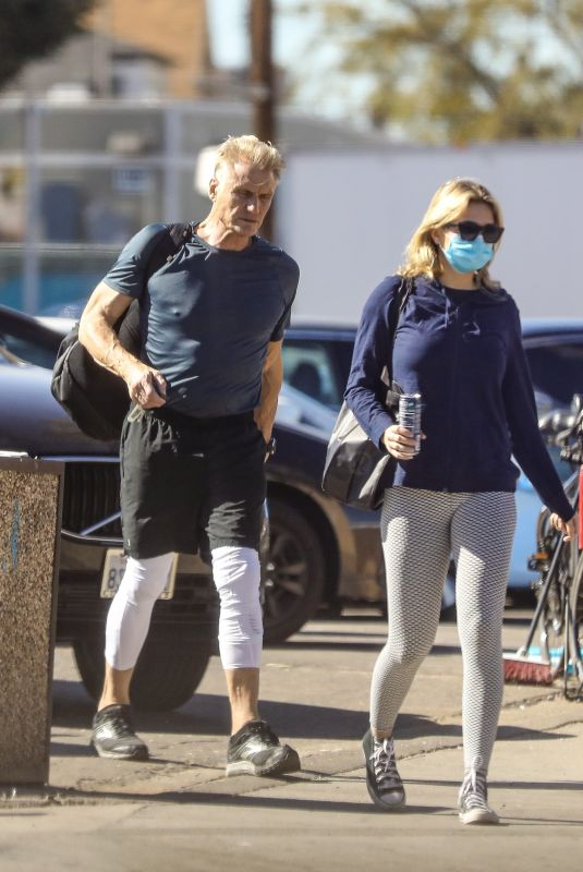 EMMA KROKDAL and Dolph LundgrenLeaves a Gym in Venice 02/23/2021