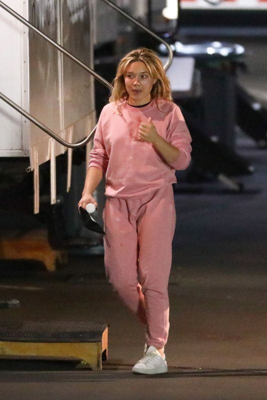 FLORENCE PUGH on the Set of Don't Worry Darling in Los Angeles 02/14/2021