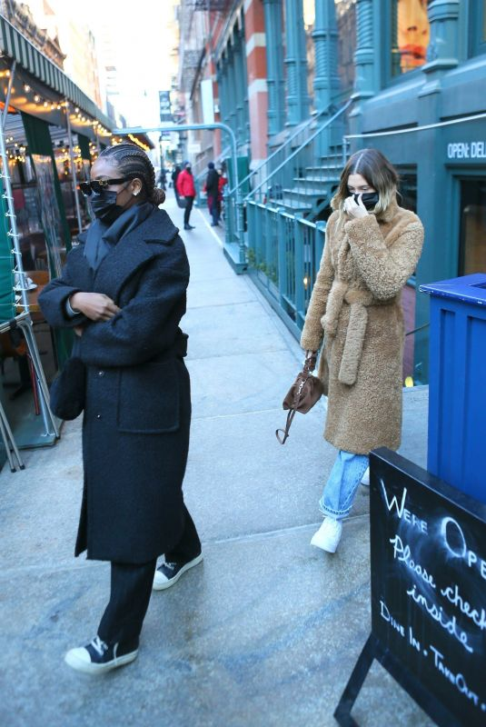 HAILEY BIEBER and JUSTINE SKYE Out in New York 02/21/2021
