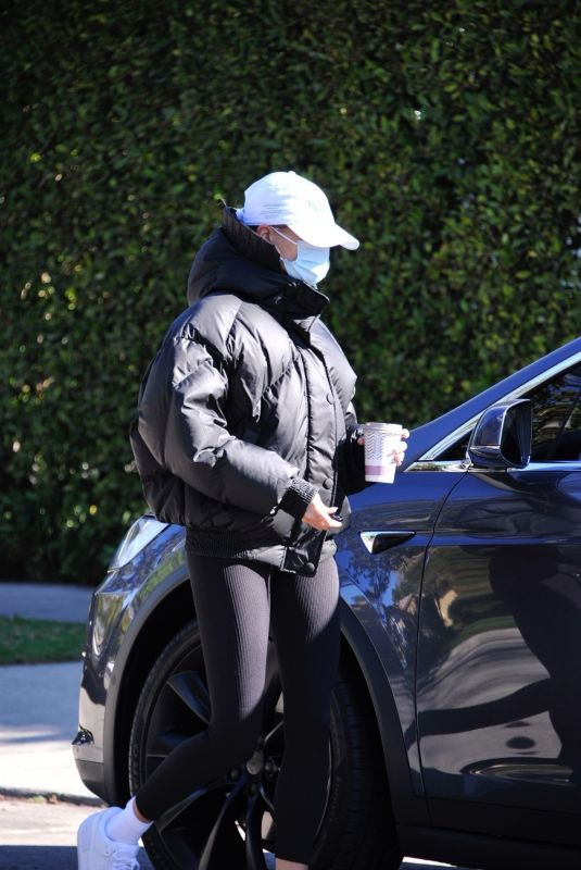 HAILEY BIEBER Leaves Morning Pilates Class in West Hollywood 02/12/2021