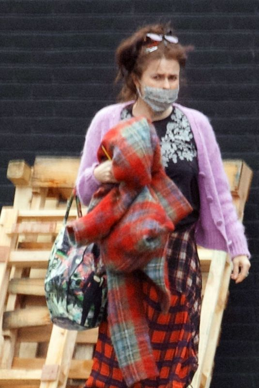 HELENA BONHAM CARTER Arrives at a Studio in London 02/04/2021
