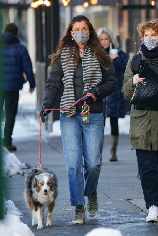 HELENA CHRISTENSEN Out with Her Dog in New York 02/04/2020