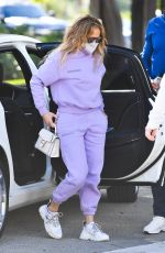 JENNIFER LOPEZ in a Lilac Tracksuit Out in Miami 02/01/2021
