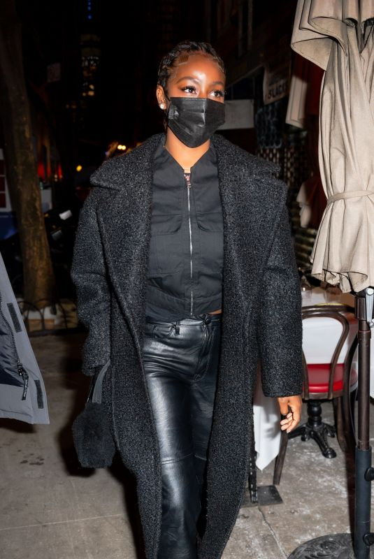JUSTINE SKYE Out for Dinner at Carbone in New York 02/21/2021