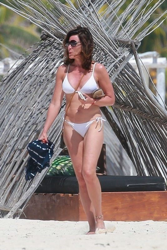 LUANN DE LESSEPS in a White Bikini at a Beach in Tulum 02/25/2021