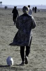 LUCY FALON Out with Her Dog on Blackpool Beach 02/22/2021