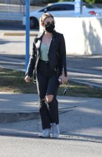 LUCY HALE in Ripped Denim Out for Coffee in Los Angeles 02/26/2021
