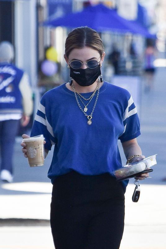 LUCY HALE Leaves Starbucks in Studio City 02/22/2021