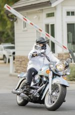 NICOLETTE SHERIDAN Out Driving a Harley Davidson in Calabasas 02/16/2021
