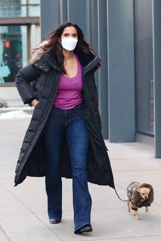 PADMA LAKSHMI Out with Her Dog in New York 02/16/2021