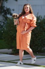Pregnant BRITTANY CATWRIGHT Out with her Dog in Los Angeles 02/03/2021