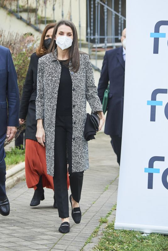 QUEEN LETIZIA OF SPAIN Arrives at Foundation for Help Against Drug Addiction Meeting in Madrid 02/02/2021