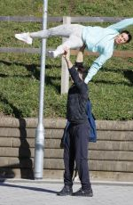 REBEKAH VARDY Practicing a Lifts Out in London 02/26/2021