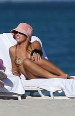 SOFIA RICHIE in a Leopard Print Bikini on the Beach in Miami 02/01/2021