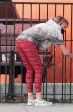 TINA LOUISE Painting a Fence Outside Her Restaurant in West Hollywood 02/01/2021