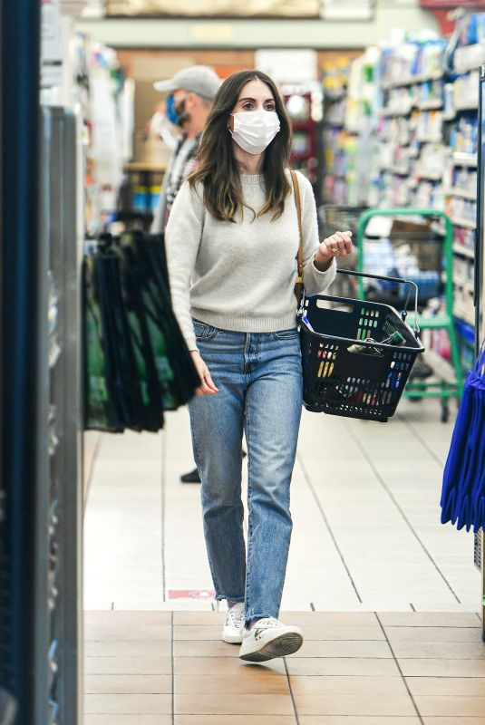 ALISON BRIE Shopping at Gelson's in Los Angeles 03/26/2021