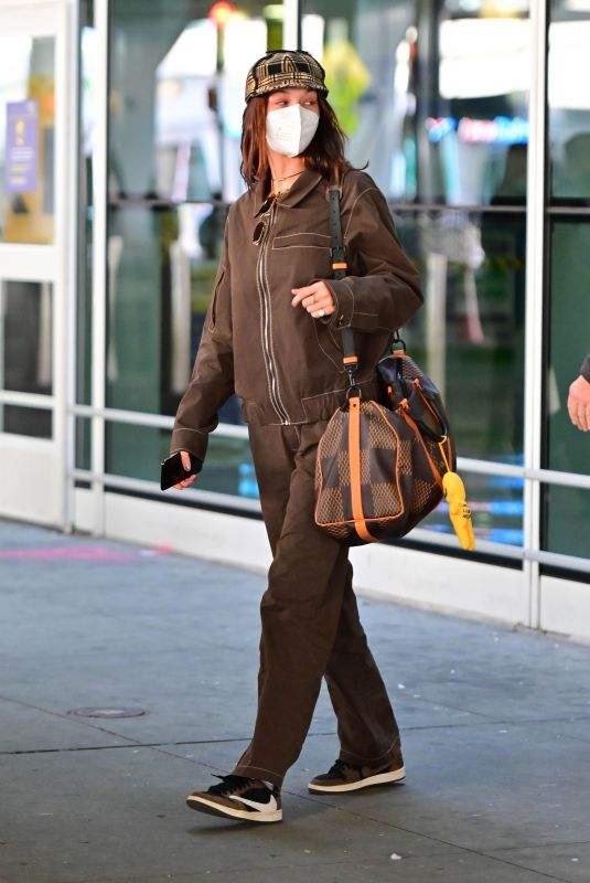 BELLA HADID at JFK Airport in New York 03/06/2021