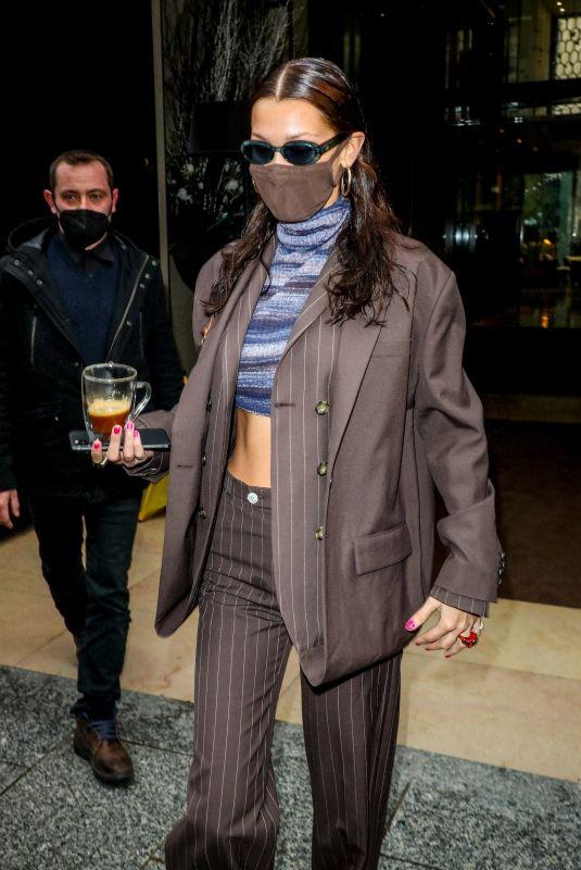 BELLA HADID Leaves Mandarin Oriental Hotel in Paris 03/04/2021